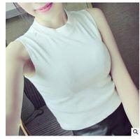 gilet piccolo collare delle donne del cotone estate nuove donne piccolo gilet di base senza maniche collo alto T-shirt