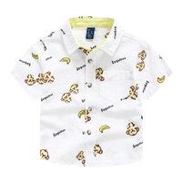 beach linen shirts - Cool Brand exported Boys shirts short sleeve summer beach monkey print shirt Tops cotton linen Quality Kids children clothing