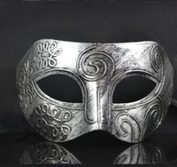 ancient antiques - Imitating ancient Rome mask for men imperial crown and deep V style antique brass and silvery cosplay prince at the dance WA2501