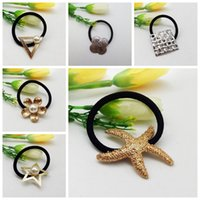 Wholesale Fashion Oceanic Hair Bands Cute Starfish Pentagram Flowers Hair Ring Gold Plated Pearl Headdress Hair Accessories For Women Ladies Gilrls