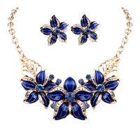 al por mayor conjuntos de collar de cristal de oro chapado-Hot Seling 18K oro plateado cristal austríaco esmalte flor joyería establece moda 2016 collar africano y pendiente conjunto para las mujeres DHW254