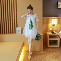 Wholesale Maternity summer loose peacock sequin dress