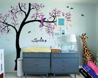 baby tree names - Nursery Tree Decal Birds Leaves cute Parrots Personalized Baby Name cmX289cm