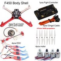 Wholesale SGLEDs F450 Multi Copter Quadcopter Rack Kit Frame APM GPS M8N Power Module Motor A ESC Prop Super combo