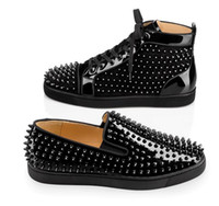Wholesale Leather Lace Winter Dress - Luxury Spikes Strass Slip On Platfrom Sneakers Shoes,Rivets Flats Bussines Party Dress Wedding Shoes Red Bottom Loafer Shoes Moccasin Shoes