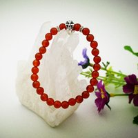 Wholesale Brand New Fashion pure naturnal red agate carnelian Bracelet Semi Precious Stone Bracelet with skull