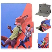 animal skin wallets - 7 inch Universal Cartoon Crazy Animal City Zootopia Leather Wallet Case For All PC tablet Fox Batman Pouch Stand Skin Cover Luxury