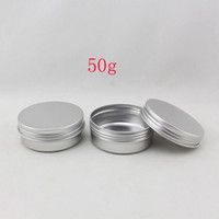 alu containers - 50g X aluminum cream jar gram metal cosmetics silver container jar screw lid oz Alu empty packaged bottles DIY tea