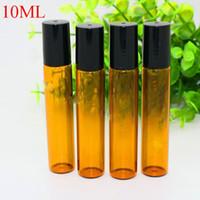 Venta al por mayor 10ml botellas de rodillo de vidrio de color ámbar con SS o vidrio Roll-on Ball para el aceite esencial Perfumes de aromaterapia y labios-tamaño perfecto