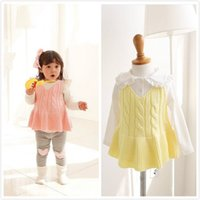 baby doll sweaters - INS Baby sweater dress autumn new Girls V neck cotton knitting suspender dress kids doll collar long sleeve T shirt child outfit A9357