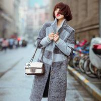 beautiful fur coats - 2016 Autumn Winter Women Clothes Brand Design Long Lapel Neck Velvet Lamb Wool Coats Warm Slim Real Fur Coat Beautiful Outwear Jacket J6904