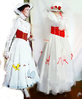 Wholesale Mary Poppins Costume Adult Size handmade with Red Satin Corset Cosplay Costume Custom made Halloween