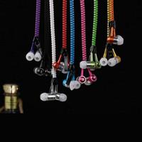 achat en gros de écouteurs style zipper-Vente en gros-Hot! Style de Earphone Métal Zipper Colorful avec 3.5mm pour iPhone iPad MP3 MP4 10 couleurs