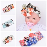 baby ink - New Baby Girls Headbands Europe Style Ink painting flower big wide bowknot hair headwear colors Children Heart pattern Hair Accessories