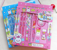 Wholesale 6pieces set hello kitty pencil case for kids cute cartoon school supplies stationery kawaii pencil cases for girls gift