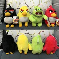 Wholesale 20cm Angry Birds Plush Toys Yellow Red Black Bird Green Skin Pigs Plush Toys Cartoon Stuffed Animalsl For Children Kids