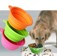 Wholesale Portable Dog Cat Pet Collapsible Travel Feeding Feeder Foldable Folding Silicone Bowl colors