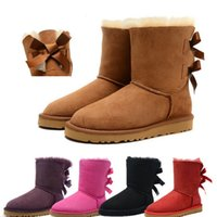 baileys sheepskin - Lastest Bow bailey sheepskin fur leather genuine lady women winter warm snow boots shoes shoe