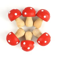 Wholesale home decoration accessories6pcs wood dots Mushrooms Miniature Fairy Garden Houses Decoration Novelty Polka Mini Craft