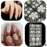 Wholesale New Fashion D Nail Art Stickers Full Wraps White Lace Acrylic Tips Glitters Women DIY Sticker Decals Decorations