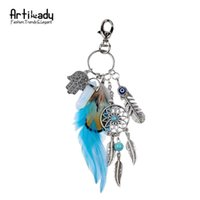 artilady - Artilady natural opal stone dreamcatcher keyring fashion silver boho jewelry feather keychain for women spring