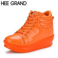 artificial increase - HEE GRAND Increasing Heel Woman Casual Shoes Lace up PU Artificial Bright PU Leather Thick Bottom Shoes XWD2720