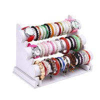 bar organizers - New and Fashion Tier White Leather Bracelet Chain Watch T Bar Rack Jewelry Organizer Hard Display Stand Holder