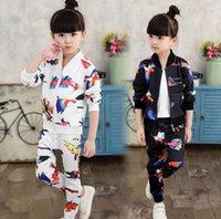 big bird clothing - 2016 Autumn Big Girl Outfits Set Birds Baseball Jacket Pants Outfit Children Leisure Kids Clothing Set K7937