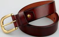Wholesale new2016 newest men belt genuine leather belt for men full grain leather belt black brown pin buckle belts for jeans cowboy