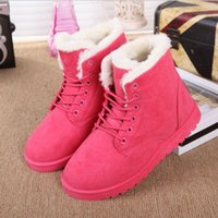 Wholesale 2016 new snow boots winter warm female cotton padded shoes flat heel plus velvet thickening short scrub lacing hot sales