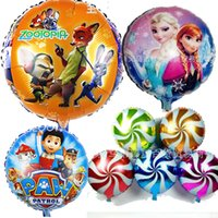 Wholesale 50pcs style Inch Cartoon Helium Foil Balloons Frozen Zootopia toy Ballons For Kids Birthday Wedding Party Decoration