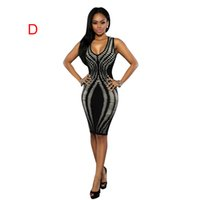 Wholesale HOT SALE women dresses printing bandage dresses Sexy Club Party Dresses Sundress Plus Size Clothing Sleeveless Ladies Bodycon