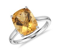 yellow topaz ring - 2016 NEW Solitaire Ring Yellow square Topaz Cushion Cut Ring Wedding Ring gift