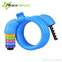 Wholesale ROCKBROS Bicycle Letters Code Lock Combination Coiled Bike Cable Lock Cycling Password Lock Bicycle Lock Accessories