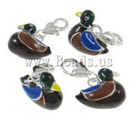 Wholesale Duck silver color plated enamel black nickel lead cadmium free Zinc Alloy Lobster Clasp Charms