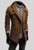 Wholesale 2016 Spring and Autumn New Fashion Mens Hooded Windbreaker Simple Style Medium long Trench Coat Classic Double breasted Solid Color Male