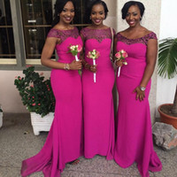 Cheap 2016 New South African Mermaid Bridesmaid Dresses Cap Sleeves Lace Appliques Chiffon Fushia Maid of Honor Gowns