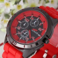 accurate rubber watch - car Hot Sell High Quality Accurate Man Red Three little Dials Sport Silicone Band Quartz Wrist Watch