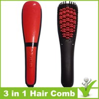 anion cap - 016 Electric Hair Straightener Brush Comb in Hair Straightener Detangling Brush Anion Spray Magic Hair Comb with Anti Burn Silicone Cap