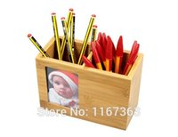 Wholesale Office supplies Wooden office supplies Desktop storage box with multi functional wood frame pen holder Children s Day Gifts