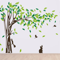 Wholesale Miss Huang s shop Tree Blowing in the Wind inch H Beautiful Tree Wall Decals Trees birds rabbits for Kids Rooms Teen Girls Boys