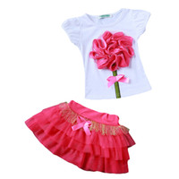 Boy baby pettiskirt set - Flower Big Girls Kid Toddler Baby Princess Party Pageant Tulle Tutu Dress Sets Top T Shirt Pettiskirt Summer Children Clothing SZ B01