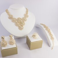 Wholesale K Gold Plated Jewelry Sets For Wedding Fashion African Women Elegant Costume Necklace Sets