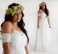 Cheap Elegant 2016 Boho Wedding Dress Plus Size Strapless A Line Floor Length Full Lace Bridal Gowns with Detachable Short Sleeves Bohemian Style