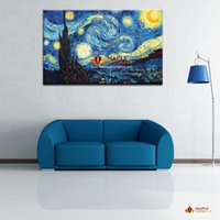 art painting van gogh - Starry Night by Vincent Van Gogh Giclee Fine Art Print on Canvas Home Decor Wall Art Painting Modern Abstract Oil Painting Printed On Canvas