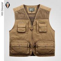 big pocket travel jacket - Fall Vest New Hunting Men Travel Jacket Outdoor Life Mesh Pocket XL Summer Men Sleeveless Utility Multi Pocket Zip Vest Big Pockets