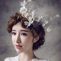 Wholesale Europe Type IThe Bride Headdress Married White Headdress Flower Bud A Small Hat Word Card Elegant Wedding Linen Hat Hair Clips