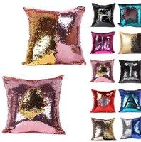 Wholesale Sequin Pillow Case Sequin Reversible Cushion Pillow Cover Home Sofa Decor Mermaid Pillow Covers Magic Cushion Pillow Cover KKA402
