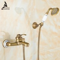 antique bath tubs - new arrival Antique Brass Shower Set Faucet bath tub Mixer Tap single handle Shower Wall Mounted ZLY Q