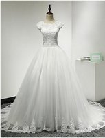 Cheap free shipping A-line Wedding Dress-Ivory Chapel Train Jewel Lace   Tulle babyonline